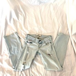 Light Wash Destructed Stretch Boot Jeans (SHORT)
